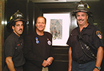 Stewart and local Fire Heroes with Stewarts original Firefighters at Ground Zero